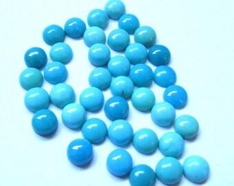 10 pieces 5mm Turquoise Cabochon Round Gemstone - Sleeping Beauty Arizona - TURQUOISE Round Cabochon Gemstone - Turquoise Cabochon Round