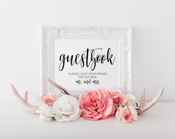 Guest Book Sign, Guest Book Sign, Guest Book Table Sign, Wedding Sign, Wedding Wishes, Wedding Printable, Please Sign Our Guestbook