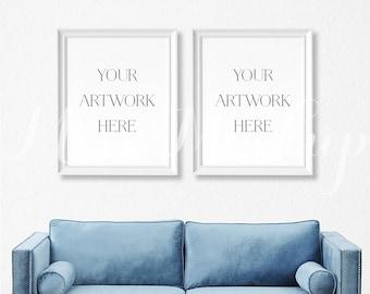 8x10 DIGITAL Set of 2 White Frame Mockup (Portrait) - Stock Photo, Styled Photography, Mock up, prints,  INSTANT DOWNLOAD