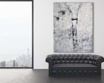 XL White Abstract Painting / XL White Art / Modern Art / White on White Painting / Large Contemporary Art / White Texture Painting /