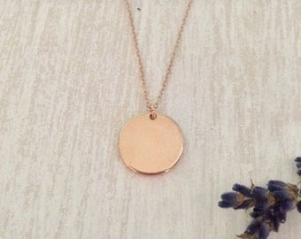 Dainty Rose Gold Necklace // Pendant Necklace // Single Rose Gold Disc // Dainty Jewelry // Rose Gold Necklace