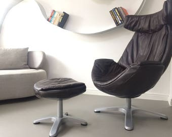Design Modern Vintage Leather chaise lounge swivel Egg chair with footstool