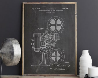 Movie Projector, Film Projector, Projector Blueprint, Movie Room Printable, Motion Picture Print, Cinema Printable, Patent, INSTANT DOWNLOAD