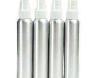 4 Pack Aluminum Fine Mist Spray Bottles 4oz (120ml)