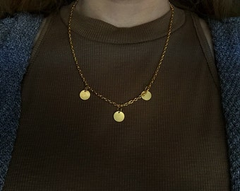 16 of 18 inch Gold Chain Necklace with 3 Gold Circular Charm Pendants / Free Shipping