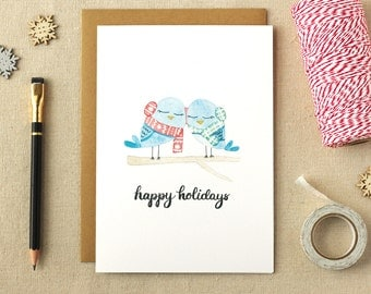 Watercolor Owls Illustrated Christmas Card | A2 Size