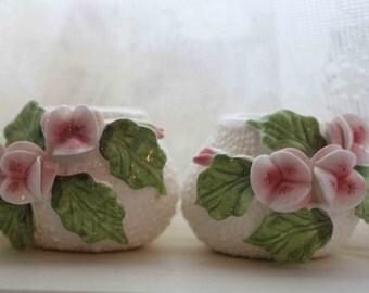 SALE Pair Fine Bone China Candlestick Holders