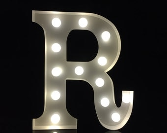 Vintage Metal white initial letter R marquee letter light up letter sign wedding decor kids light chic night light plaque