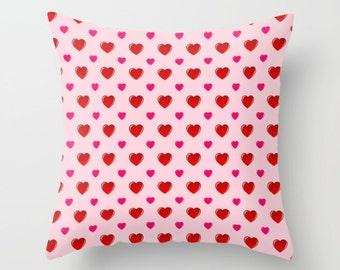 Valentine Pillow, Pillow Cover, Pillowcase, Heart Pillow, Pink Pillow, Red Pillow, Valentine's Day, Throw Pillow Cover, Love, Seasonal, Cute