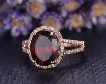 Natural VVS Red Garnet Engagement Ring,10x8mm gem promise ring,custom made fine jewelry,Sold 14k rose gold Diamond Wedding Band,prong Set