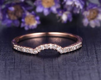 Diamond wedding band,anniversary ring,half eternity Curved matching band,Solid 14k Rose gold promise ring,custom made fine jewelry