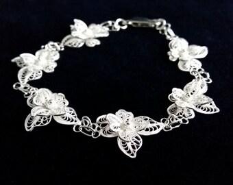 Filigree Bracelet Light Orchid, Sterling Silver Bracelet, Filigrana, Flower Bracelet, Handmade in Spain, Silver Art, Gift Idea, Gift for Her
