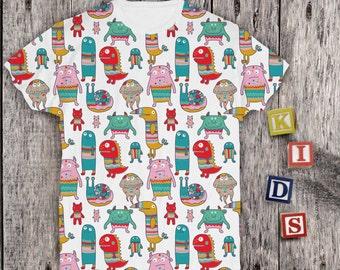 Monsters Shirt Little Monster Shirt Funny Boys T-shirt Girls Tee Custom Shirt Cool T-shirt Halloween Shirt Boy Monster Printing Shirt PA1112