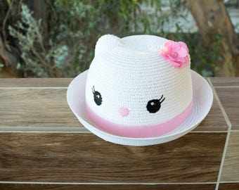 Toddler and Girl Straw Cat Bowler Hat White Brown