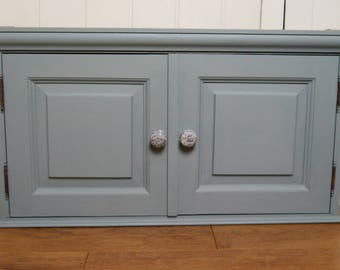 Vintage Two Door Bathroom Wall Cabinet - Wedgewood Blue with Decoupaged Shelf and Doorknobs
