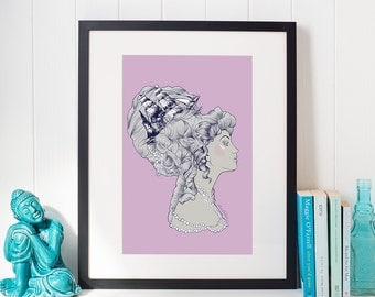 Marie Antoinette Rococo Ship Hair Illustration Digital Download Print