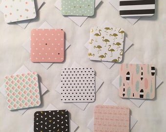 """10 Mini Note Cards & Envelopes 3"""" x 3"""" For Love Notes, Gift, Thank You Card N085"""
