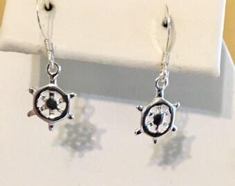 Sterling Silver Ships Wheel Earrings