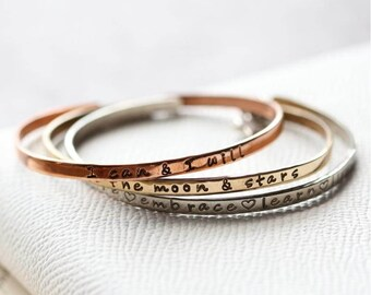 Skinny Bangles - Personalised Bangle - Cuff Bracelet - Personalised Cuff - Mothers Day - Best Friend Gift - Personalised - Bespoke