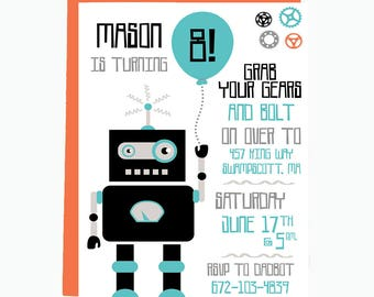 Robot Birthday Party Invitation, Gears and Bolts, Robot Birthday Invitation, Modern Robot Invitation, Robot Party, Printable or Printed