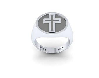 Monogram ring. Sterling silver ring. Silver monogram ring. Signet silver ring. Personalized signet ring. Monogram men ring.
