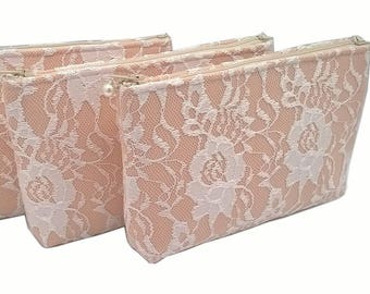 Set of 5 Coral Lace Bags or Choose Your Color, Cosmetic Bag, Lace Clutch, Bridesmaid Clutch, Bridesmaid Gift, Mother of the Bride Gift