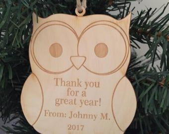 Custom owl teacher ornament