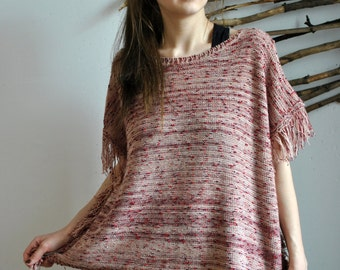 Vintage womens crocheted poncho sweater 1960s 1970s red colour 1990s