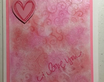 Pink Embossed Valentine's Day Card with 3D Heart