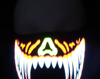 Red and White Teeth Sound Activated LED Rave Mask for DJ, Edc, Ultra, Music Festival, Concerts, Club, EDM, Costume, Cosplay, Dance, Music