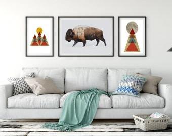 Buffalo Prints, Bison Instant Printable Art, American Buffalo, Animal Print Trend, Bison Poster  Print, Printable Bison, Buffalo Download