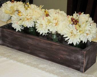 Distressed Wood Planter Box • Mason Jar Centerpiece, Long wood box, Candle Holder, Wedding Centerpiece • 21 inches long
