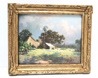 "Dalhart Windberg Signed Print, ""Memorable Springtide"". A Bounty of Springtime Flowers Surround the Barn and Windmill"