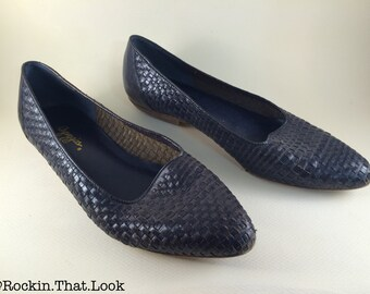 Size 10 Arpeggios Pointed Toe Woven Dark Navy Blue Flats Genuine Leather Slip-on's