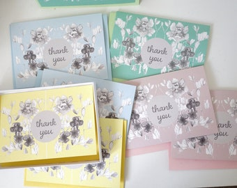 Pastel Thank You Greeting Cards Pack of 8