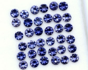 Natural 5 Pc lot 5mm Iolite Faceted Round Loose Gemstone AAA Quality Natural Faceted Iolite Round Gemstone Loose Iolite calibrated gemstone