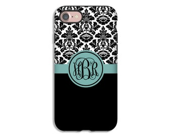 Black Damask Monogram iPhone 7 case, damask iPhone 7 Plus case, teal monogram iPhone 6s Plus case/6s case, 3D iPhone case, iPhone SE case