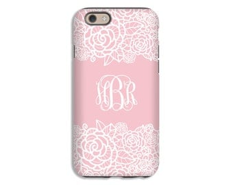 iPhone 7 case, lace iPhone 7 Plus case, monogram iPhone case, iPhone 6s/6s Plus/6/6 Plus/5s/5/SE cases, iphone cases for girls