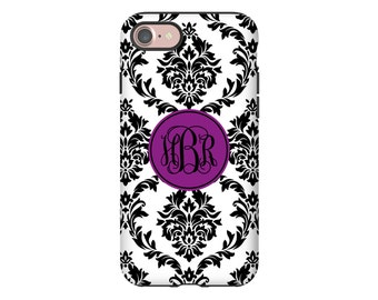 Purple monogram iPhone 7 case, damask iPhone 7 Plus case, monogrammed iPhone cover, iPhone SE/6s/6s Plus/6/6 Plus/5s/5 cases