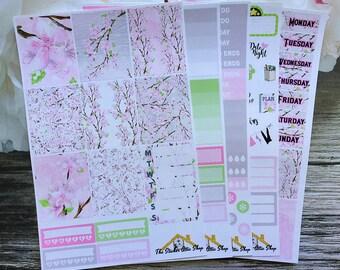 Cherry Blossom Planner Stickers /Weekly Kit / Erin Condren Vertical Kit