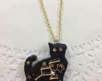 Celestial Star Cat Pendant Necklace