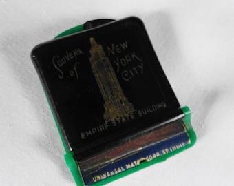 Vintage Plastic Match Book Cover Souvenir New York City Empire Bld. Neva-Clog