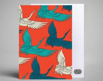 Postcard - Red Cranes