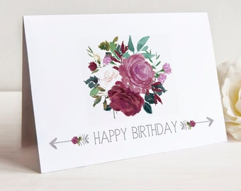 Happy Birthday Floral and Arrow Note Cards, Set of 10 Cards with Envelopes
