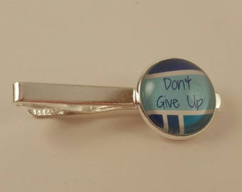 "JW Men's Tie Bar ""don't give up"" in blue. jw menswear, jw accessories, jw gifts, jw items"