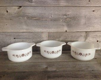 Set of 3 milk glass Dynaware Pyr-O-Rey Individual Casserole dishes, brown floral design