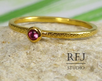 Dainty Textured Ruby Gold  Ring, Pink Corund 2 mm 24K Yellow Gold Plated Ring, July Birthstone Ring, Gold Plated Stacking Ruby Ring