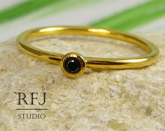 Yellow Gold Plated Lab Black Diamond Ring, 24K Gold  2mm Black CZ Stacking Ring Black Cubic Zirconia Stackable Gold Ring, April Jewelry