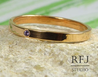 Tiny Lab Amethyst 14K Rose Gold Plated Band, February Birthstone Rose Gold Jewelry 1.25 mm Round Cut Violet CZ Band 2 mm Engagement Ring