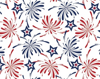 """Made in USA Fabric: Red, White, Blue Stars - USA Patriotic Fireworks by Springs Creative Fabric by the yard 36""""x44""""  (SC152)"""